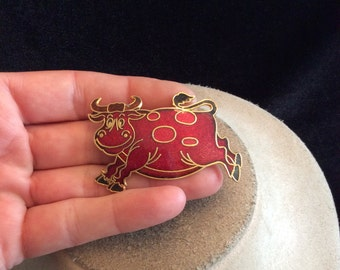 Vintage Red & Black Enameled Bull Pin