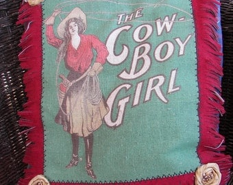 Vintage Cowgirl decorative pillow