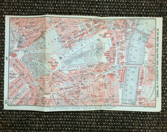 1911 Vintage Map of London [9.8 x 5.8 in.] Pall Mall, Green Park, Charing Cross, Westminster Bridge, Houses of Parliament, Westminster Abbey