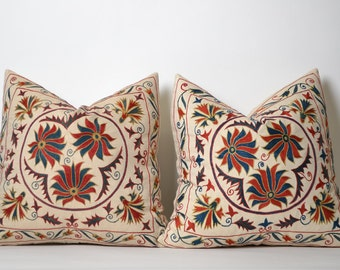 SET of 2 Suzani Pillowcases, Hand Embroidered Decorative Pillow, Bohemian Ethnic Handmade Pillows For Couch, housewarming gift, gift for her