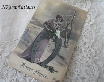 Antique postcard 1910 Happy new year