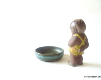 Gouda stoneware bowl / trinket bowl in a forest green with a teal band decor 1920's Collectors piece