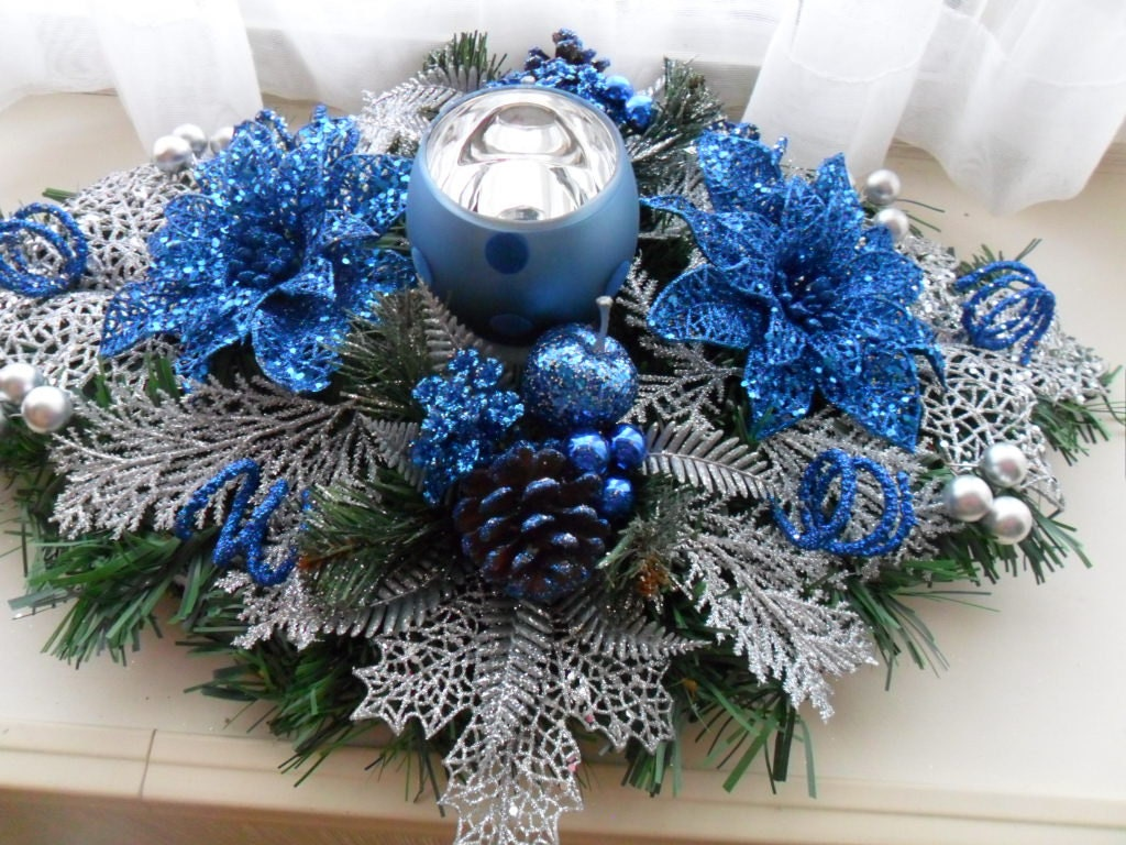 Blue And Silver Christmas Centerpiece