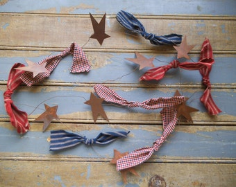 Stars and Bows Garland, Americana Garland, Americana Decor, Primitive Star, Rustic Garland, Rusty Stars, Prim Tree Garland, Primitive Decor