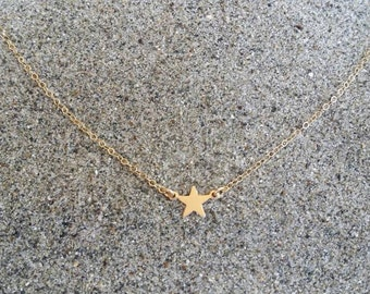 Gold Star Necklace, Tiny Star Pendant, Tiny Star, Gold Necklace, Gold Star, Gold Filled, or, Sterling Silver