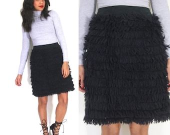 Moschino Black Shaggy Yarn Faux Fur High Waist Pencil Skirt Avant Garde Glam