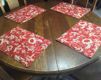 Handmade set of 4 quilted red floral design place mats.