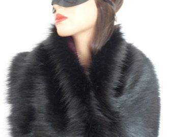 black faux fur stole, faux fur shawl, fake fur wrap, shrug