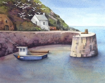 "Original painting of Porthgain harbour | Watercolour landscape | 16"" x 5"" 