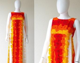 ON SALE 60s Hawaiian Ui Maikai Floral Psychedelic Maxi Dress * XXS