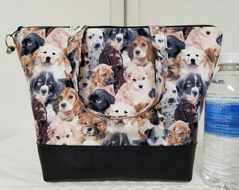 Insulated Lunch Bag, Vinyl Bottom,Animals,Puppies,Dogs,Work Lunch Bag, School Lunch Bag, Nylon Lining and Inner Zipper Pocket, Purse, Tote.