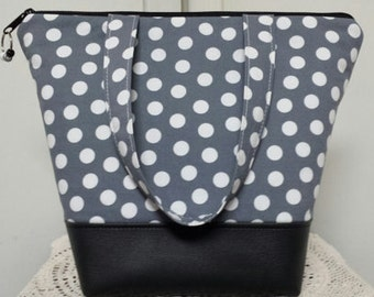 Insulated Lunch Bag,Vinyl Bottom, Gray with White Polka Dots,  Work Lunch Bag, School Lunch Bag, Nylon Liner with Inner Zipper Pocket.