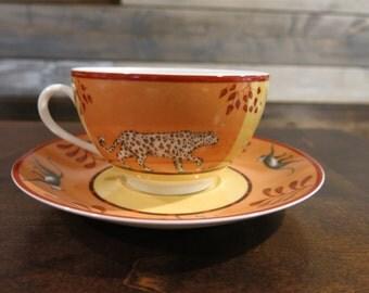 Hermès Paris Africa Porcelain China  Cup and Saucer Set