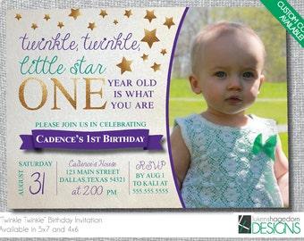 Twinkle Twinkle Little Star- Birthday Invitation- Custom Colors Available - Digital File