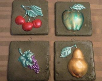 Set of 4 Decorative Fruit Tiles