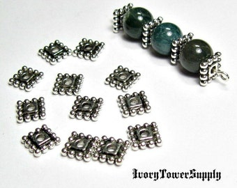50 7mm Square Spacer Beads, Metal Beads, Antique Silver Beads, Square Beads, Spacer Beads