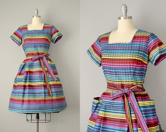 50s Dress // 1950's Multicolor Striped Wrap Dress w/ Pin-tucking and Pockets // S-M