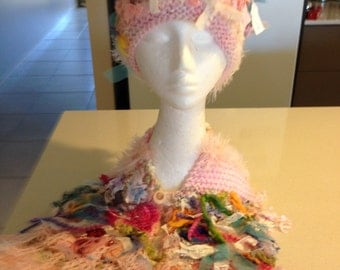 funky hippie neckwarmer and hat set