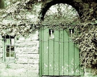 """Door Photography, Door Art, Green Door Print, Architectural Art, Rustic Home and Garden Art, St Augustine Farmhouse- """"The Green Door"""""""