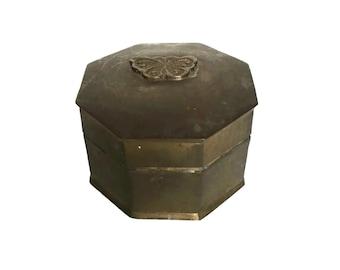 Vintage brass trinket box octagon shaped ring holder butterfly design