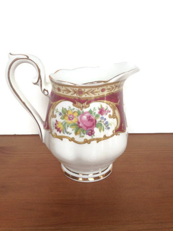 Royal Albert creamer vintage Lady Hamilton pattern porcelain pitcher