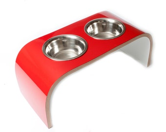 Red & White Raised Pet Feeder