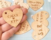 Wedding favor tags, personalized favor tags, custom engraved wooden veneer favor tags, thank you tags, gift tags, wedding favors