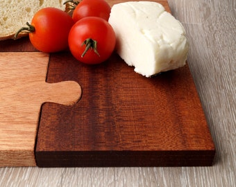 Wood puzzle serving board, wooden cutting board, breakfast board, cheese board or set of 4 coasters, wedding gift, anniversary gift
