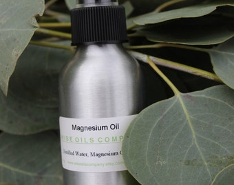 All Natural Magnesium Oil Mist -  4 or 8 ounces - Essential Oils -- Gift For Him & Her