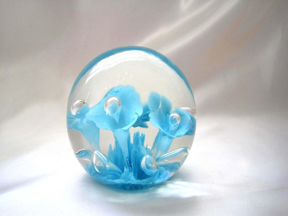 Joe St Clair Large Glass Art Paperweight Aqua Blue Trumpet