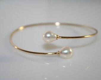 Double pearl bracelet sterling silver, pearl bracelet, double pearl cuff bracelet