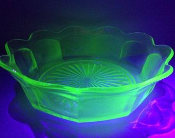1920s Vaseline/Uranium Glass Bowl.