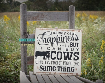 Cow Decor, 12x12 Rustic Cow Sign