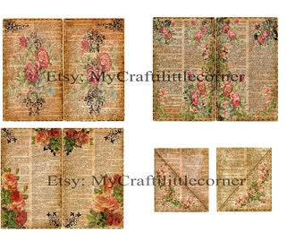 Vintage floral book page elements INSTAND DOWLOAD