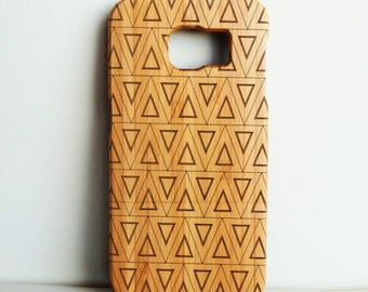 WOODEN PHONE CASE Samsung triangles design laser etched bamboo (wooden Samsung S6 case)