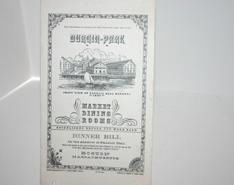 Vintage Durgin-Park restaurant menu from 1940's