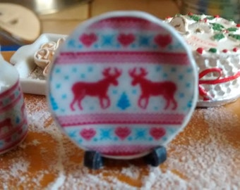 Dolls house miniature Winter Reindeer ceramic plate
