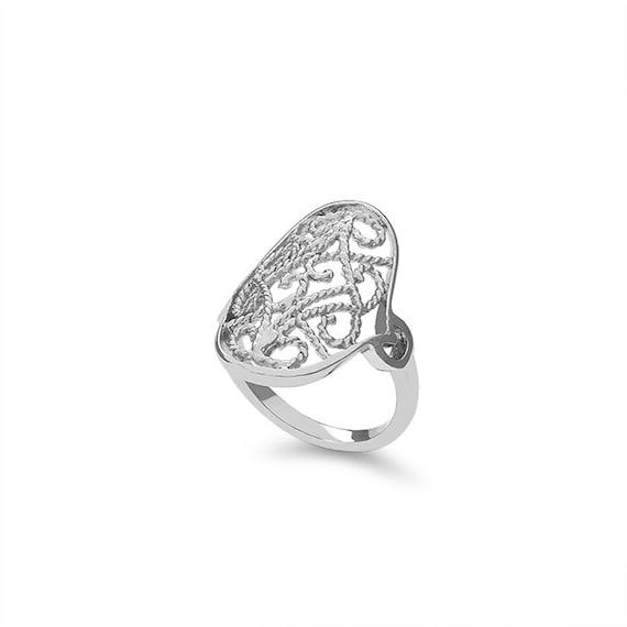 sterling silver filigree ring index finger ring fancy ring