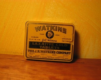 Vintage Watkins Laxative Cold Tablets Tin