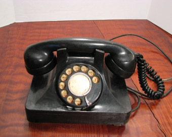 Antique North Electric Art Deco Rotary Telephone Vintage Black Bakelite Phone