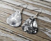 CLEARANCE - SALE - Marbled Guitar Pick earrings - Music fan earrings - Guitar pick charm - Charm earrings - Music earrings