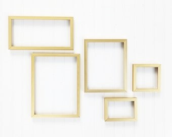 set of 5 gold metal frames collection 2 4x6 5x5 6x12 8x10 9x12 new frames mid century modern style simple gold frames gallery
