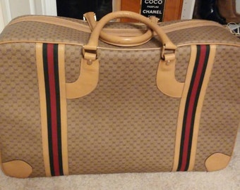 Gucci Suitcase red green web vintage luggage gg
