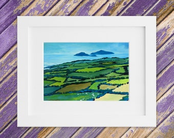 Irish Landscape Painting - Original Small Oil Painting - Mosaic Fields Kerry Ireland Blasket Islands 13 x 10