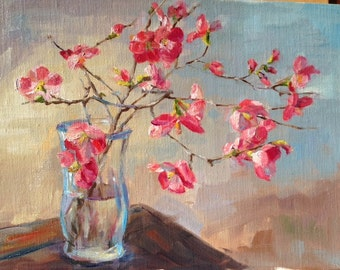"Flowering Quince | Print of Original Artwork | Jeanie Posey Artist | 5x7"" and 8x10"" Matted and Backed"
