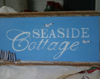 Hand painted hand made wood sign Seaside Cottage decor wall hanging beach seaside cottage by the sea beach decor beach house