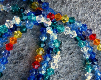 Graduated 3 strand Swaovski bicone crystal necklace