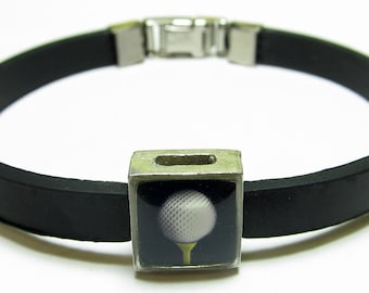 Sport Golf Ball Link With Choice Of Colored Band Charm Bracelet