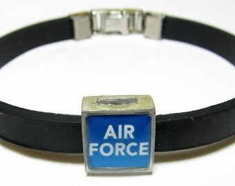 Military Air Force Link With Choice Of Colored Band Charm Bracelet