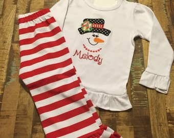 Girls Christmas Outfit, Girl Snowman Shirt and Pants, Embroidered Shirt, Striped Pant, Ruffled Pant, Applique Shirt